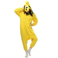 Wholesale women dog costumes online – ideas Pluto Dog Women and Men Cartoon Kigurumi Polar Fleece Costume for Halloween Carnival New Year Party welcome Drop Shipping