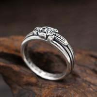 homens anel europeu venda por atacado-Nova marca de prata esterlina 925 designer de jóias vintage americano europeu hand-made designer de prata antigo anel de banda espada para mulheres dos homens