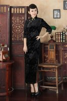 Discount velvet qipao - Shanghai Story Qipao China Style Cheongsam dress,women's autmun Embroidery Qipao dress velvet dress 2 style
