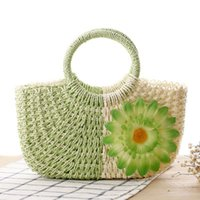 Wholesale chinese hand cream - Chinese wind hit color weaving flowers hand woven straw bag new summer sunflower woven bag women beach bag