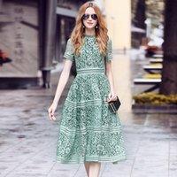 lace pink midi dress großhandel-Hohe Qualität Elegant Schlank aushöhlen A-Linie Spitze Midikleid Rosa / Grün Kleid Selbstporträt Kleid