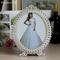 Wholesale baby shower frames - Crystal Pearl Oval Wedding Photo Frame Metal Alloy Home Decor Bridal Baby Shower Birthday Gifts