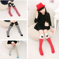 meias de algodão de meninas venda por atacado-Primavera e Outono Verão Meias Novas Meninas Meias Menina Gatos Crianças Meias de Algodão Listrado Coreano
