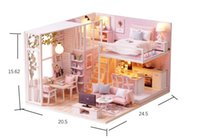 Wholesale build wooden house for sale - Diy Wooden Doll House Furniture Kits Toys Handmade Craft Model Kit DollHouse Toys Gift For Children