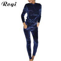 Wholesale Velvet Trousers Women - Rogi Velvet Women Sets 2017 Fashion Long Sleeve Bodycon Slim Sweat Suits Hoodies Tracksuit Sweatshirt Two Piece Trousers Women