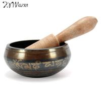 holz tibetischen buddhisten großhandel-Neue Ankunft Tibetischen Buddhistischen Messing Chakra Klangschale Yoga Meditation Healing Holz Hammer Für Hausgarten Raumdekoration