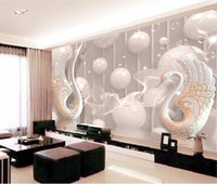 Wholesale Abstract Vintage Wallpaper - 3d wallpaper European White Swan Circle wall painting bedroom living room TV backdrop KTV stripes abstract mural wall paper