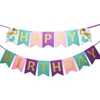 doğum günü afişleri ücretsiz gönderim toptan satış-Toptan 1 ADET Altın Glitter Mermaid Mutlu Doğum Günü Afiş Garland Doğum Günü Partisi Bunting Dekor Ücretsiz Kargo