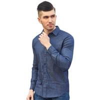 erkekler rahat kıyafetler toptan satış-2018 Sonbahar yeni Erkekler elbise gömlek Puantiyeli Denim Elbise Gömlek Uzun Kollu% 100% Pamuk moda Rahat Erkek erkek Sosyal Gömlek