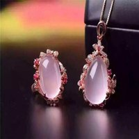подвеска с двумя кольцами оптовых-New exclusive peach blossom two piece set of 925 sterling silver inlaid natural  crystal ring pendant set