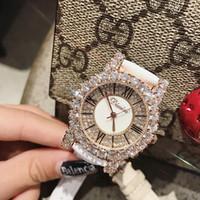 Wholesale rose big size resale online - DIMINI Big Size Fashion Rose Gold Zircon Roman Female Watch Personality Leather Strap Watches Fashion Watch Rhinestone Ladies Watch