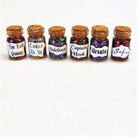 Wholesale Miniature Charms - 12pcs lot Villains Desk Charms Miniature Bottles of Wicked Magic Ursula Jafar Captain Hook The Evil Queen Bottle Jewelry