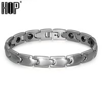 био серебро оптовых-HIP Men's Healthy Bracelets & Bangles Silver Color Stainless Steel Bio Elements Energy Germanium Bracelet for Men Jewelry