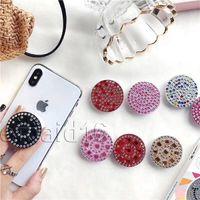 kristal yüzük standı toptan satış-Evrensel Kristal ayarı burgu cep telefonu tutucu Parmak Yüzük Telefon Standı iPhone 7 6 s Samsung araç tutucu bağlar