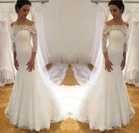 Wholesale sexy beach wedding dresses online for sale - Group buy Latest White Lace Mermaid Wedding Dresses With Long Sleeve Chapel Train Off Shoulder Wedding Gowns Bridal Dresses Online