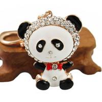 Wholesale crystal bear keychain resale online - Lovely Panda Bear Keychain White Black Rhinestone Red Heart Love Key Chain Holder Crystal Keyring for Bag Car Porte Clef