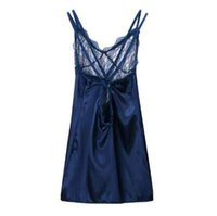 ingrosso pigiami di seta gialli-Fashion Sexy Women Babydoll Lingerie Intimo Night-Robe Dress Pajams Deep V Sheer Sleepwear