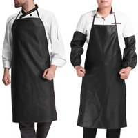 Wholesale chef waist aprons - Faux Leather Chef Apron Waterproof Restaurant Cooking Bib Apron Sleeveless Apron +Cuff Unisex For Men Household Tools