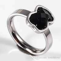 Wholesale 14k Gold Onyx Ring - TL gold plated silver plated stainless steel bear ring 2 colours for women high quality brand jewelry