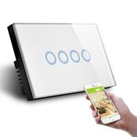 беспроводной диммер переключатель для led оптовых-WIFI Wireless APP Control Wall Switch Socket Light Dimmer Smart Automation Module DIY US AU Standard LED Light Touch Panel