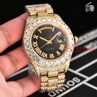 Wholesale mens wristwatches top brands for sale - Group buy Top Luxury Brand Watch Mens Big Diamonds Day Date Stainless Steel Gold Perpetual President Automatic Movement Mechanical Wristwatch Watches