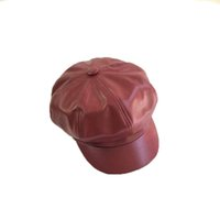 Wholesale red vintage accessories online - New Solid Color PU Leather Octagonal Cap Fashion Autumn Winter Caps Male Female Casual Vintage Hats Accessories Colors
