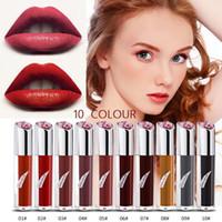 beijo vermelho sexy venda por atacado-Popfeel Beijo Urso Beleza Lipgloss Sexy Red Lip 10 Cor Hidratante Lip Gloss Matte À Prova D 'Água Tatuagem Lip Fosco Líquido Batom