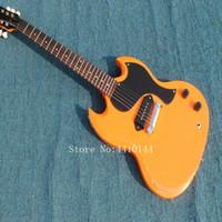 tiendas de guitarra china al por mayor-2018 Custom guitar store, venta al por mayor OEM artesanal naranja estilo SG guitarra eléctrica, Made in China
