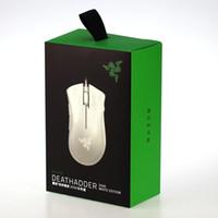 razer mouse venda por atacado-New Razer DeathAdder 2000 EDIÇÃO BRANCA Wired Ergonomic Gaming Mouse 2000 DPI Branco LEVOU Mão Direita Mouse Eapcket livre