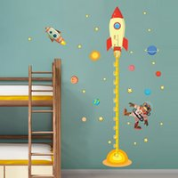Wholesale Baby Outer - wholesale  Outer space Planet Monkey Pilot Rocket home decal height measure wall sticker for kids room baby nursery growth chart gifts