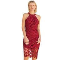 1a70c8e4fea 2018 Женщины лето кружева тонкий мини-платье секс выдалбливают обратно  платье Vestidos плюс размер одежды короткие красный вечернее платье партии  элегантный