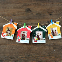 papierrahmen für fotos großhandel-Holz Clip Seil Hängenden Wand 3 Zoll DIY Papier Bilderrahmen Weihnachten Haus Stil Hauptdekorationen Bunte 3 5 c