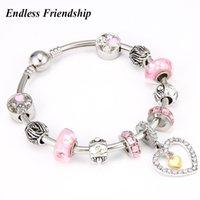 ingrosso braccialetti europei di fascino pandora-Braccialetti di fascino di Pandora di cristallo rosa di stile europeo di alta qualità Braccialetto di perle di amore di colore d'argento per i regali dei monili delle donne
