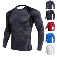 футбол футбола оптовых-2018 New Quick Dry Running Shirt Men T-shirt Long Sleeve Compression Shirts Gym T Shirt Fitness Sport Top Soccer Rashgard
