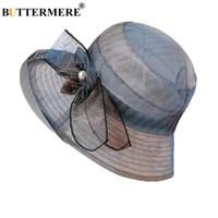 eab49efda4a BUTTERMERE Flower Hat Women Summer Female Sun Bucket Hat Wide Brim Vintage  Elegant Ladies Uv Hats For Women 2018 New Arrival