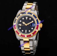 bracelets en diamant bleu achat en gros de-2019 A ++++ Marque R L SEA-Dweller Acier Montre en or jaune 18 carats avec cadran bleu et bleu Mouvement automatique 116613 Montres-bracelets en acier inoxydable avec diamants en acier inoxydable