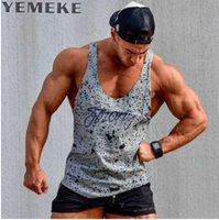 homens tanques tops cinza venda por atacado-YEMEKE Regatas Sem Mangas Colete TOP Camisola casual fitness Mens casual impressão Musculação Vermelho cinza preto