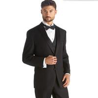 trajes de lana mezclados a medida hombre moda novio trajes de boda trajes  negros de solapa de alta calidad (chaqueta + chaleco + pantalones) 14de7c4ee91