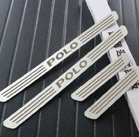 edelstahl tür vw großhandel-großhandel ausgezeichnet neu für vw polo 2011 2012 2013 2014 Volkswagen polo zubehör edelstahl türschwellenplatte auto styling