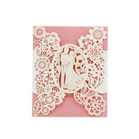 customize birthday invitation UK - Laser Cut Wedding Invitations OEM in 41 Colors Customized Hollow With Lovers Flowers Personalized Wedding Invitation Cards #BW-I0305