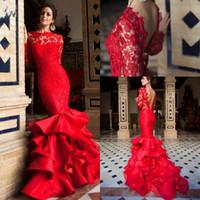neue kollektionen abendkleider großhandel-2018 Red Mermaid Prom Pageant Kleider Neue Kollektion Sexy V Zurück Langarm Vintage Lace Tiered Satin Röcke Abendkleider