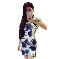 ingrosso abiti cinesi di colore nero-2018 estate alta nero cinese signora raso cheongsam breve qipao vintage sexy abito da sera fiore vestito tradizionale cinese