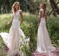 Wholesale Lined Chiffon Skirt - Limor Rosen 2018 Bodice Country Wedding Dresses Illusion Jewel Cap Sleeve Appliques Court Train Vintage Garden Beach Boho Bridal Gowns