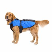 Wholesale led dog clothes resale online - Leading Life Pet Dogs Diving Material Coats Jackets Vest Breathable Waterproof Pet Large Dog Outfit Clothes With Waist Belt