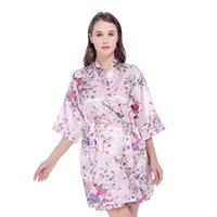 c68398f6ec Silk Satin Wedding Bride Bridesmaid Robe Floral Bathrobe Short Kimono Robe  Night Bath Robe Fashion Dressing Gown For Women