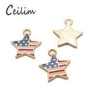 Wholesale Flag Items - 2018 New fashion pentagram America flag & USA letter charms for jewelry making retro accessories cheap items DIY fashion jewelry wholesale