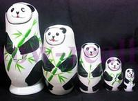 Wholesale russian wooden dolls set - BEAUTIFUL HANDMADE SET 5PCS PANDA RUSSIAN STACKING NESTING DOLLS