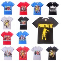 Wholesale girls christmas clothing - 14 Colors Kids Fortnite T shirt Cotton Boys Girls Short Sleeve Shirts Summer Clothing Children Tees Clothes MMA251