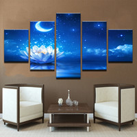 Wholesale Lotus Painting Wall Panels - 5 Pieces White Lotus Flower Moon Painting On Canvas Unframed Modern Landscape Oil Picture For Bedroom HD Print Wall Poster