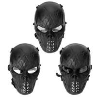 kafatası maskeleri toptan satış-Dayanıklı PC Lens Kafatası Paintball Oyunları CS Alan Yüz Koruma Maskesi Avcılık Taktik Bisiklet Tam Yüz Maskesi sıcak